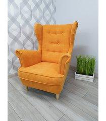 fotel uszak aston pomarańczowy plusz