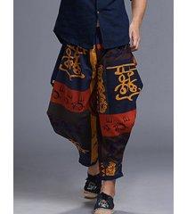 hombres estilo étnico viaje casual suelto impreso media cintura pantalones