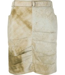 christian dior 2000s pre-owned marble effect draped skirt - neutrals