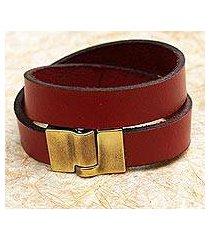 leather wrap bracelet, 'trendy crimson' (brazil)