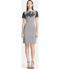 women's st. john collection leather detail plaid knit sheath dress, size 8 - grey