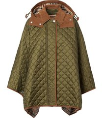 burberry quilted hooded cape - green