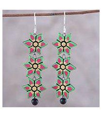 ceramic dangle earrings, 'dazzling daffodils' (india)