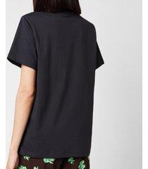 ganni women's floral cotton jersey t-shirt - phantom - l