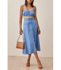 women's reformation kamren two-piece linen dress, size 4 - blue
