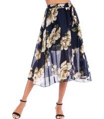 belted floral midi skirt