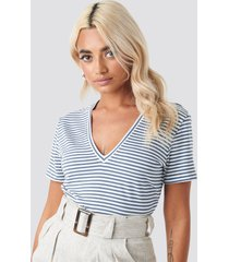 trendyol v-neck striped tee - blue