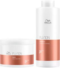 kit wella professionals fusion shampoo + máscara tamanho profissional
