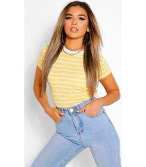 petite ingekort t-shirt met onbewerkte zoom, geel