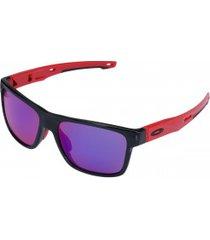 óculos de sol oakley crossrange prizm - unissex - preto/vermelho