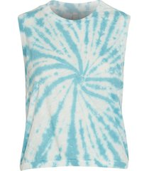 free people women's tie dye love yoga tank top - white bluestone combo x-small cotton