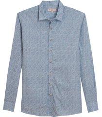 camisa dudalina manga longa tricoline fio tinto estampa liberty masculina (azul medio, 7)