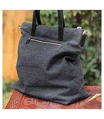 cotton shoulder bag, 'journey of black' (peru)