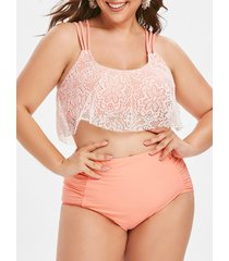 lace overlay ruched high waisted plus size tankini swimsuit