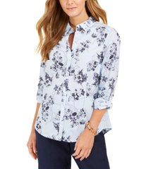 charter club petite cotton mixed-print blouse, created for macy's