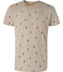 no excess t-shirt crewneck allover printed khaki