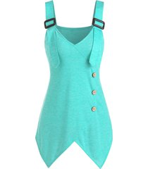 buckle strap mock button handkerchief tank top
