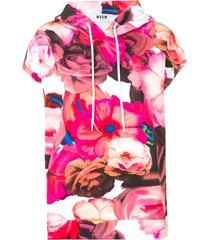 msgm short sleeved hoodie - pink