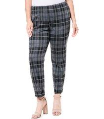 plus size women's single thread plaid ponte leggings, size 3x - grey