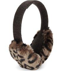 portolano women's leopard faux fur earmuffs - dark brown