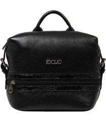 bolsa mochila de couro recuo fashion bag croco preto