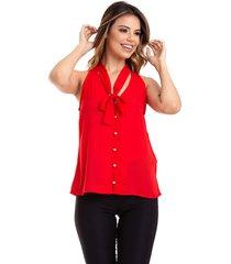 blusa kinara regata crepe amarar na gola vermelho - vermelho - feminino - poliã©ster - dafiti