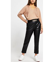 river island womens petite black faux leather cigarette pantss