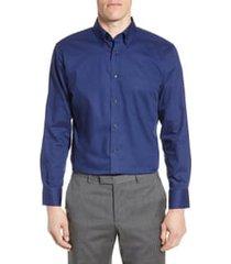 men's big & tall nordstrom men's shop trim fit non-iron dress shirt, size 18 - 34/35 - blue