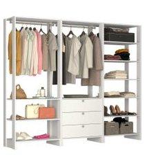 guarda roupa closet 3 peças 2 cabideiros branco