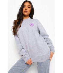 petite can u not sweater met borstopdruk, grey marl