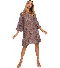 korte jurk moe m575 shift jurk met elastische mouw - model 1