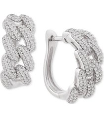 "wrapped in love diamond chain link detail small hoop earrings (1 ct. t.w.) in sterling silver, .79"", created for macy's"