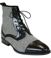 handmade men cap toe boots, tweed fabric boots for men, lace up dress boot men