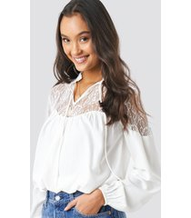 na-kd boho lace part balloon sleeve blouse - white