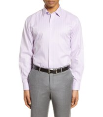 men's big & tall nordstrom men's shop traditional fit non-iron plaid dress shirt, size 17.5 - 36/37 - purple