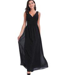 vestido fiesta escote cruzado negro nicopoly