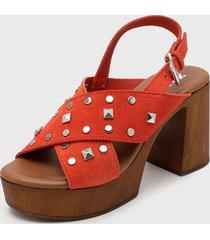 sandalia cuero rojo zappa