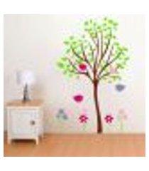 adesivo de parede arvore com folhas. flores e passaros - g 77x120cm