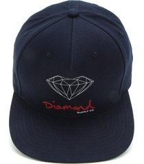 boné diamond supply co supply co og sign azul-marinho