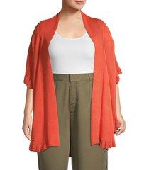 joseph a women's ruffled open front cardigan - pumpkin spice - size 2x (18-20)