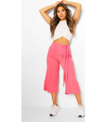 petite rib belted wide leg culottes, coral