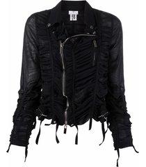 comme des garçons noir kei ninomiya semi-sheer ruched biker jacket -