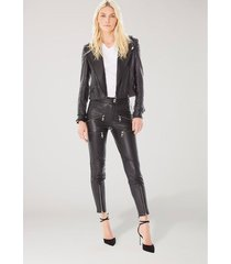 jaqueta de couro fivelas pintura preto
