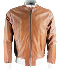 barba napoli fox model nappa leather jacket with cotton jersey lining and zip