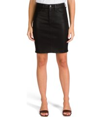 jen7 coated denim pencil skirt