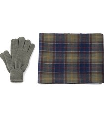 men's barbour tartan wool scarf & gloves set, size one size - green
