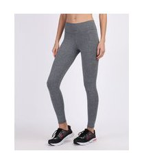 calça legging feminina esportiva ace básica cintura alta cós largo cinza claro