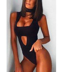 black cut out sleeveless choker bodysuit
