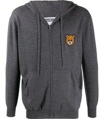moschino teddy bear zipped cardigan - grey