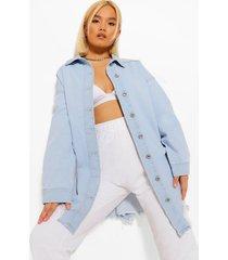petite oversized spijkerblouse met versleten zoom, light blue